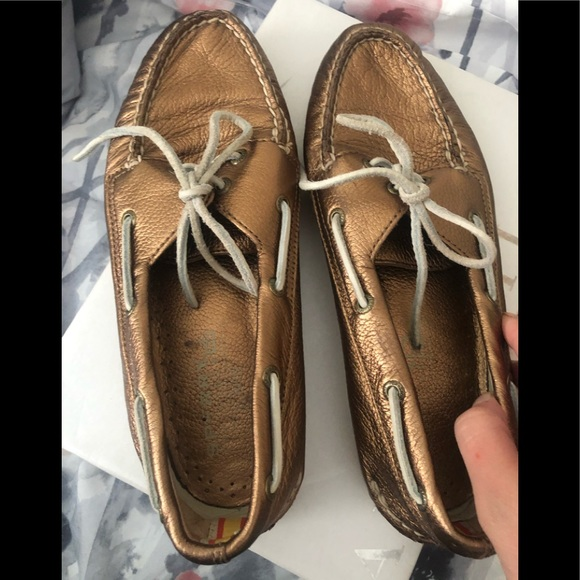 Gold Jcrew/sperry boat shoes